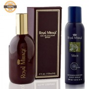 Royal Mirage Eau De Cologne Original 120ml + Royal Mirage Body Spray Silver 200ml