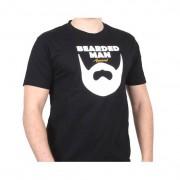 Bearded Man t-shirt Logo Text Black T-Shirt - Bearded Man