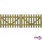 vidaXL Vrata za ogradu od kolaca 2 kom impregnirano drvo 300 x 100 cm