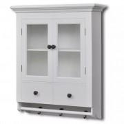 Sonata Кухненски дървен шкаф със стъклена врата, бял