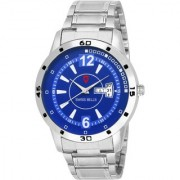 Svviss Bells Original Blue Dial Silver Steel Chain Day and Date Multifunction Chronograph Wrist Watch for Men - SB-1089