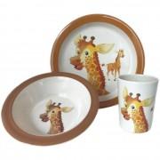 Merkloos 3-Delig ontbijtset bord/kom/beker voor kinderen giraffe thema wit/bruin melamine