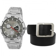 Crude Combo of Grey Dial Watch-rg710 With Black Leather Belt
