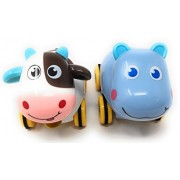 Oytra Set of 2 Naughty Zoo Animals   Friction Toy Animal for Kids Girls Boys Gifting Naughty Zoo   Size : 12 x 6 x 10 cm Non Toxic   (Animals as per Stock Availability)