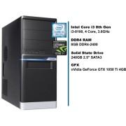 PC HomeWare, i3-8100-S240-8D4-n1050t4-MT, crna/srebrna, Intel Core i3 8100 3.6GHz, 240GB SSD, 8GB, nVidia GeForce GTX 1050 Ti 4GB, Minitower, 24mj