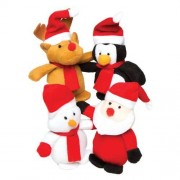Baker Ross Christmas Character Plushies - 4 Assorted Soft Toys. Plush Bean Stuffed Toys Stocking Fillers. Size 10cm.