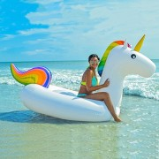 Minglitai Giant Inflatable Unicorn Pool Float, Swimming Lounge for 2-3 Person, Swim Ring Water Recreation Leisure Chair Adults & Kids(108. 27*55. 19*42. 24 inches)