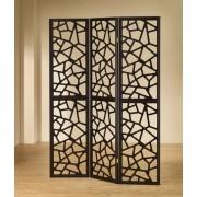 "900092 3 panel black finish wood frame room divider shoji screen with intricate cut geometric design. measures 3 (18"" wide panels ) x 70"" h."