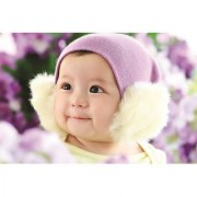 EJA Art Cute-Korean-baby-smile-purple-hat Without Frame Paper Poster Size 30X45 cms (With 12 Butterfly Free)