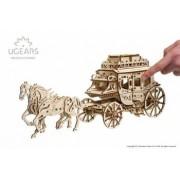 Trasura cu cai Puzzle 3D Ugears