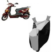 Intenzo Premium Silver and Black Two Wheeler Cover for Hero Electric Optima Plus