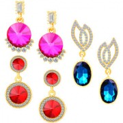 Om Jewells Fashion jewellery combo of 3 gold plated gleaming crystals dangler earrings for girls and women CO1000140