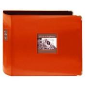 "Pioneer Sewn Leatherette 3-Ring Binder 12""X12""-Bright Orange"