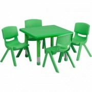 Flash Furniture Kids' Activity Table Set - Green, 24Inch Square Table, 4 Chairs, Model YCX23SQTBLGNE