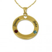 Personalized Men's Jewelry 18K gold plated Silver Circle of Life Pendant with Swarovski Birthstones Necklace 110-01-093-08