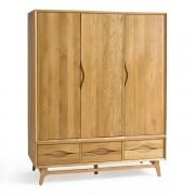 Oak Furnitureland Natural Solid Oak Wardrobes - Triple Wardrobe - Ellipse Range - Oak Furnitureland