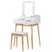 Set Masa Toaleta pentru Machiaj cu Oglinda Pliabila si Sertare + Scaun, Culoare Alb