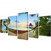 vidaXL Декоративни панели за стена Плаж с хамак, 100 x 50 см