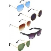 Zyaden Aviator, Aviator, Aviator, Wayfarer, Round Sunglasses(Blue, Brown, Green, Blue, Black)