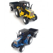 Combo Toys of 2 Set of Tractor with Trolley | Toy for Kids | Show Piece | Miniature/Model Tractor |Pull Back and Go | Yellow and Blue Color| Set of 2 Tractors - Value Pack