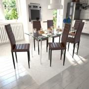 vidaXL 6 db slim étkezőszék és 1 üvegasztal szett / étkező garnitúra barna