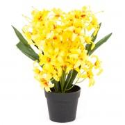 Floare artificială Crin, în ghiveci, galben, 30 cm