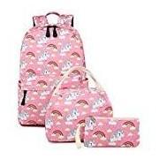 Abshoo Mochilas de unicornio ligeras, para niñas, para la escuela, para niños, Unicorn Pink Set, Mediano