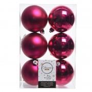 Geen 18x Fuchsia roze kerstversiering kerstballen kunststof 8 cm