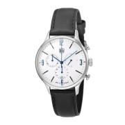 【50%OFF】ミース クロノグラフ デイト カーフレザーベルト ウォッチ フェイス:ホワイト ベルト:ブラック ファッション > 腕時計~~メンズ 腕時計