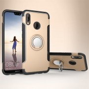 Para Huawei P20 Lite 360 Grados De Rotacion Anillo Magnetico De Armadura Protectora Caso Volver Funda (oro)