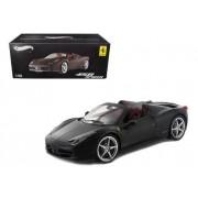 Hot Wheels Elite X5485 Ferrari 458 Italia Spider Matt Black Edition 1/18 Diecast Car Model by Hotwheels