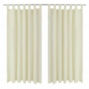 vidaXL 2 pcs Cream Micro-Satin Curtains with Loops 140 x 225 cm