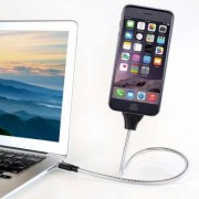 Shopido USB-kabel i böjbar metall 60cm (Apple/MicroUSB/USB-C) (Färg: Silver, Märke: Apple Lightning 60cm)