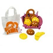Fa játék péksütemény készlet kosárral és bevásárlótáskával