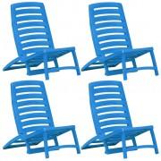 vidaXL Scaun de plajă pliant, 4 buc., albastru, plastic