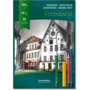 Bloc desen A4 20 file - 250g-mp AURORA Steinbach - carton alb