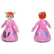 DollsnKings Rotational 3D Light Musical Dancing Princess Doll - Pink