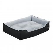 [en.casa]® Pelíšek - pro kočičky a pejsky - s oboustranným polštářem - oxford látka / PP-bavlna - 75 x 56 x 19 cm [L] - černý / šedý