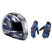 Stylish Helmet with ISI Mark+Blue Pro Biker Gloves