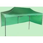 Nůžkový stan 3x6m ocelový, Zelená, 2 boční plachty
