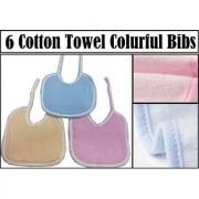 6 PCS Cotton Towel Colurful Baby bibs Knot Feeding Bibs (Random Colors) CODEqW-7982