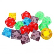 Anbau 16 Pcs Acrylic Multi Sided Dice Games D&D RPG Game Board Game Party w/ Bag