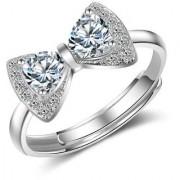 Cubic Zirconia Korean vogue bow Adjustable ring For Women & Girls (Rosegold)