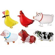 Wendingstan Pack of 6 Walking Animal Balloons Farm Balloon Birthday Party BBQ Decor(Pony,Duck,Rooster,Cow,Pig,Sheep)