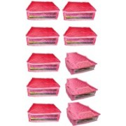 Shivanshshine High Quality Combo of Satin Plain 7PC Saree Cover 3PC Blouse Cover Capacity 10-15 Units Saree/Blouse Each(Pink)
