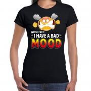 Bellatio Decorations Funny emoticon t-shirt watch out i have a bad mood zwart voor da 2XL - Feestshirts