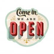 Wandafbeelding We are open