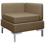 vidaXL Модулен ъглов диван с възглавница, текстил, кафяв