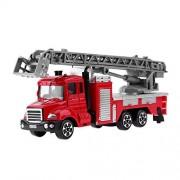 Sunsoar Simulation Mini Ladder Fire Engine Model Alloy Vehicles Truck Toy Kids Gift