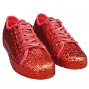 Merkloos Dames disco sneakers met rode glitters 37 - Verkleedschoenen
